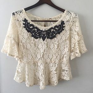 Free People Lace Peplum Shirt